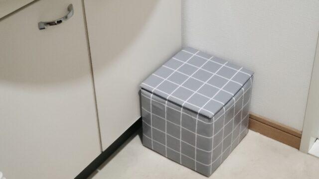 洗面所に置いてある牛乳パックで作った踏み台